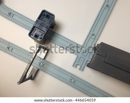 A toy train track, railway top view. - stock photo