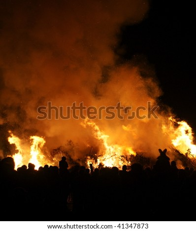 A traditional bonfire on Guy Fawkes's night (5th November) in the UK
