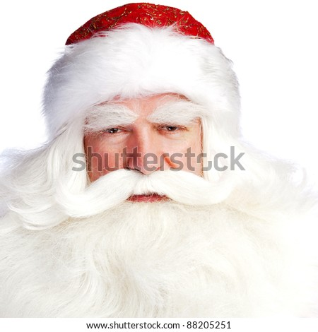 A traditional Christmas Santa Clause with staff isolated on white background - stock photo