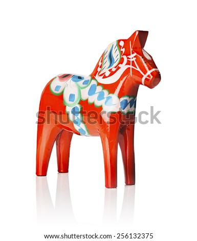 A Traditional Dalecarlian horse or Dala horse (Swedish: Dalahast) It has become a symbol of Dalarna as well as Sweden in general. The design of the horse has been around for centuries.  - stock photo
