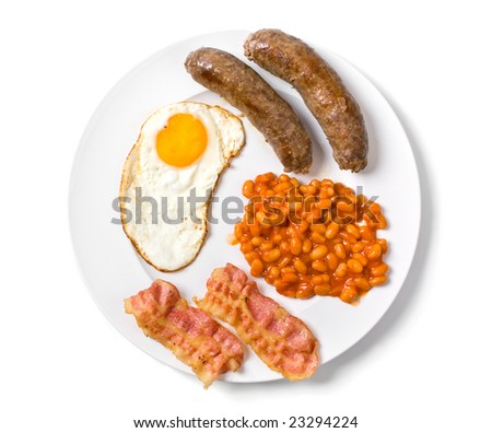 a traditional english breakfast - egg, sausages, beans and bacon - stock photo