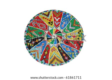 A traditional hand made woven tray - stock photo