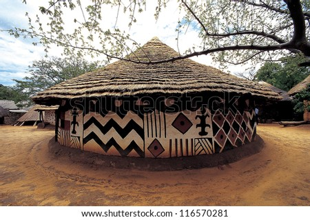 A traditional house with unique patterns in Africa