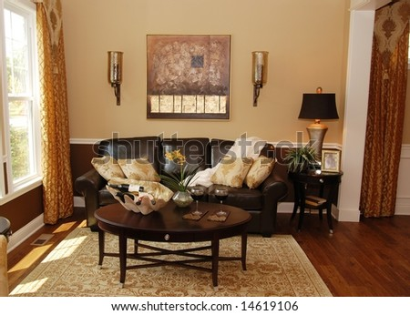 A traditional interior of a living room - stock photo