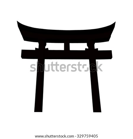A traditional Japanese gate at Shinto shrine isolated on white background