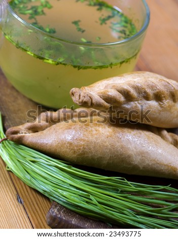 A traditional Karaite pasty with bouillon and onion