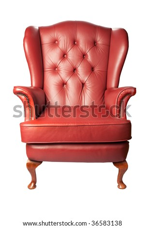 A traditional leather armchair upholstered in burgundy leather, isolated on white - stock photo