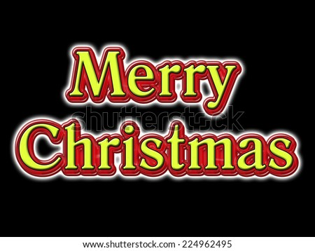 A traditional Merry Christmas message in red, yellow and white isolated on black
