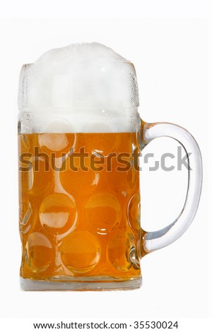A traditional Oktoberfest beer in a Wiesn mass glass on white. - stock photo