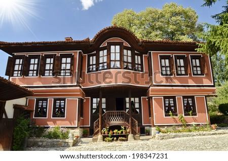 A traditional old house in Koprivshtitsa, Bulgaria, . Koprivshtitsa is one of the hundred tourist places of the Bulgarian Tourist Union   - stock photo