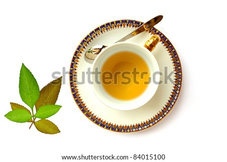 a Traditional pattern cup of tea from top view - stock photo