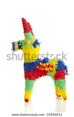 A traditional, primary colored Mexican party pinata on a white background - stock photo
