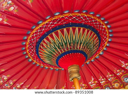A traditional red Asian umbrella - stock photo