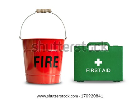 A traditional red metal Fire Bucket and a green First Aid Medical Box isolated against a white background