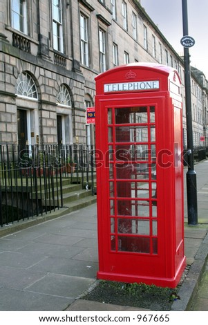 A Traditional red telephone Box in Edinburgh