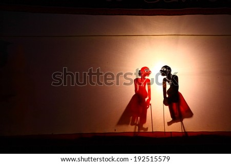 A Traditional Thailand Shadow Puppet Show - stock photo