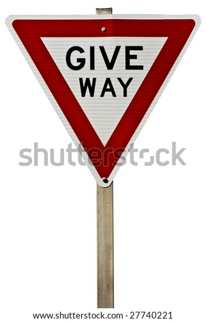 A traffic give way sign isolated on white. - stock photo