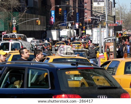 A traffic jam on New York City's upper west side.
