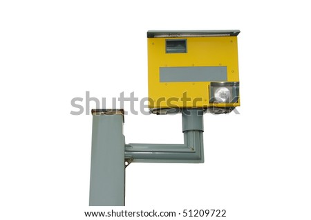 A traffic speed monitoring camera, isolated on a pure white background - stock photo