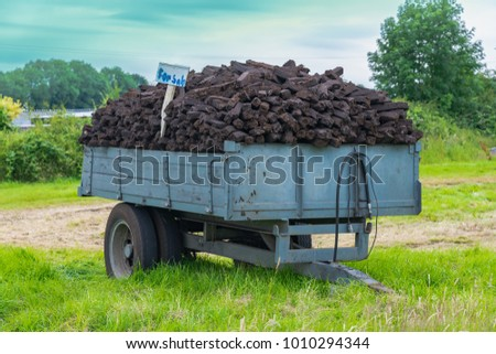 Trailer Load Turf Fossil Fuel Sale Stock Photo 1010294344