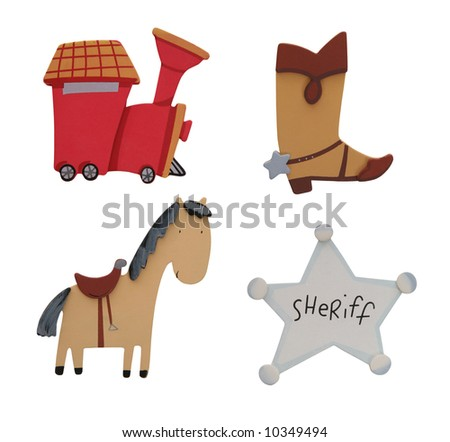 A Train, Boot, Horse, and Badge isolated over white - stock photo