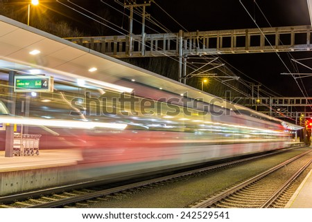 A train departed from Feldkirch station - Austria - stock photo