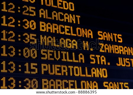 A train schedule in the central station of Madrid - stock photo