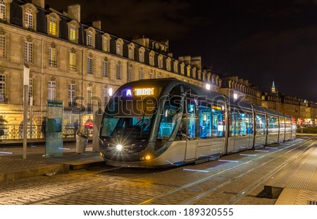 A tram in Bordeaux - France, Aquitaine - stock photo
