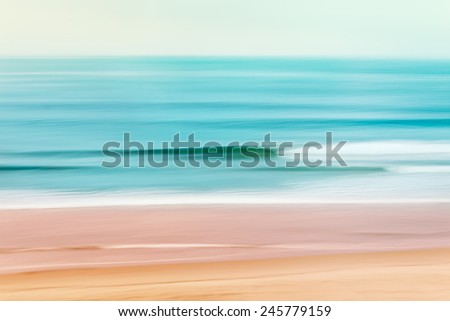 A tranquil seascape of the Pacific ocean off of California.  Image made using camera panning motion combined with a long exposure. - stock photo