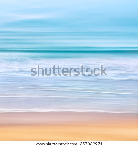 A tranquil seascape with waves of the Pacific ocean off of California.  Image made with a long exposure for a soft, blurred effect. - stock photo