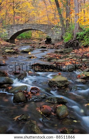 a tranquil stream meanders under a footpath and through the woodland. a forest preserve near Chicago, Cook County Illinois awakens in autumn colors carrying fallen leaves downstream. - stock photo