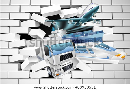 A transport logistics cargo export concept of a train, cargo container ship, plane and truck bursting through a white brick wall - stock photo