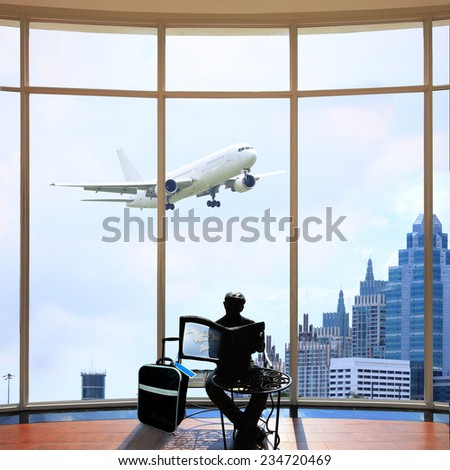 a traveler on a public or private conveyance other than the driver, pilot, or crew he is passenger explore the world with great white airplane in sky background - stock photo