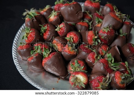 A tray of chocolate covered strawberries. / Chocolate Strawberries