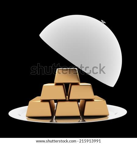 A tray of gold bullion. isolated on black background. 3d illustration - stock photo