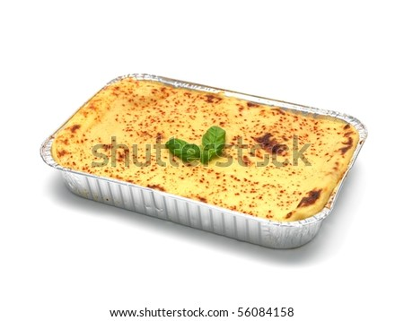 A tray of lasagna isolated against a white background