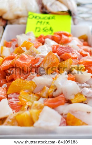 A tray of market fresh chowder mix at St George's Market Belfast - stock photo