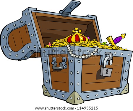 A treasure chest on a white background raster version - stock photo