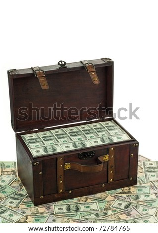 A treasure chest with lots of dollar bills. Isolated against a white background