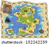 A treasure map on a white background raster version - stock