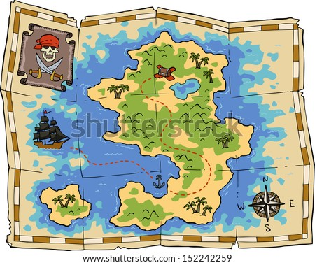 A treasure map on a white background raster version - stock photo