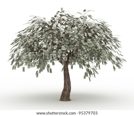 a tree covered in dollars isolated over white - stock photo