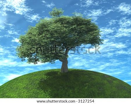 a tree is juicy green color on earth on a background cloudy sky - stock photo