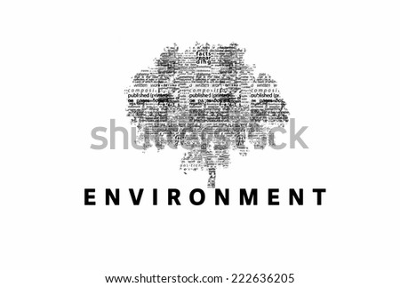 "A tree made of black words on a white background with ""Environment"" as a title - word could   - stock photo"