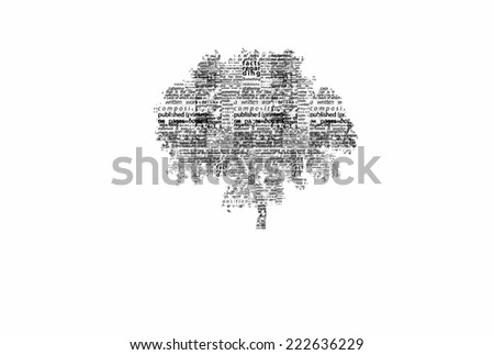 A tree made of black words on a white background with no title - word could   - stock photo