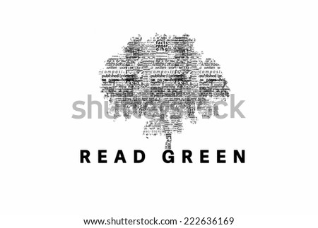 "A tree made of black words on a white background with ""Read Green"" as a title - word could   - stock photo"