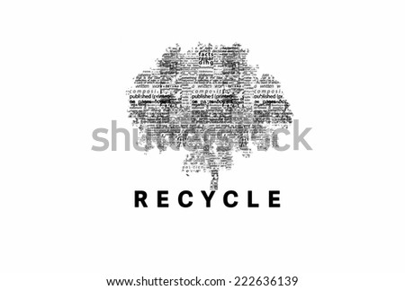 "A tree made of black words on a white background with ""Recycle"" as a title - word could   - stock photo"