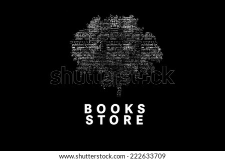 "A tree made of white words on a black background with ""Books Store"" as a title - word could  - stock photo"