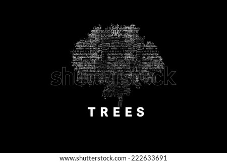 "A tree made of white words on a black background with ""Trees"" as a title - word could  - stock photo"