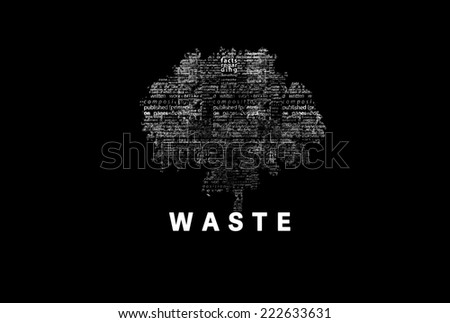 "A tree made of white words on a black background with ""Waste"" as a title - word could  - stock photo"